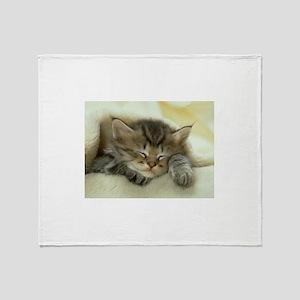 sleeping kitty Throw Blanket