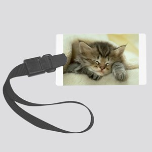 sleeping kitty Large Luggage Tag