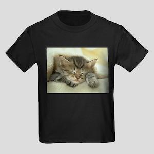 sleeping kitty Kids Dark T-Shirt