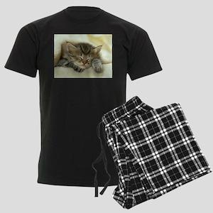 sleeping kitty Men's Dark Pajamas