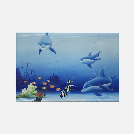 Dolphin Friends Rectangle Magnet