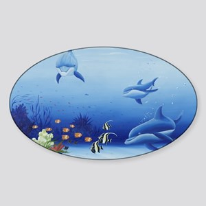 Dolphin Friends Sticker (Oval)