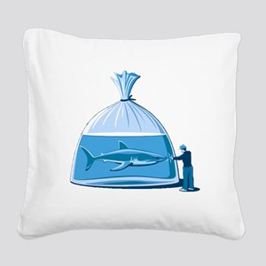 Shark in a Bag Square Canvas Pillow