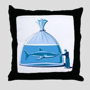 Shark in a Bag Throw Pillow