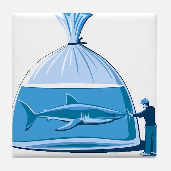 Shark in a Bag Tile Coaster