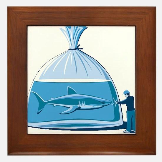 Shark in a Bag Framed Tile