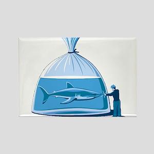 Shark in a Bag Rectangle Magnet