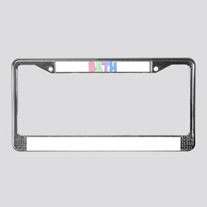 Beth Rainbow Pastel License Plate Frame