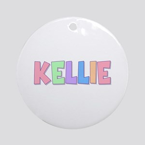 Kellie Rainbow Pastel Round Ornament