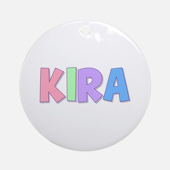 Kira Rainbow Pastel Round Ornament
