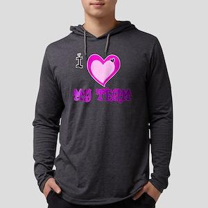 I Love MY TEAM Mens Hooded Shirt