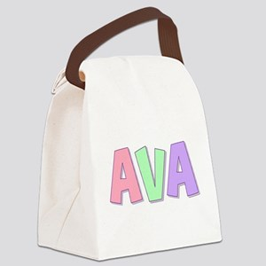 Ava Rainbow Pastel Canvas Lunch Bag