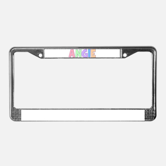 Angie Rainbow Pastel License Plate Frame