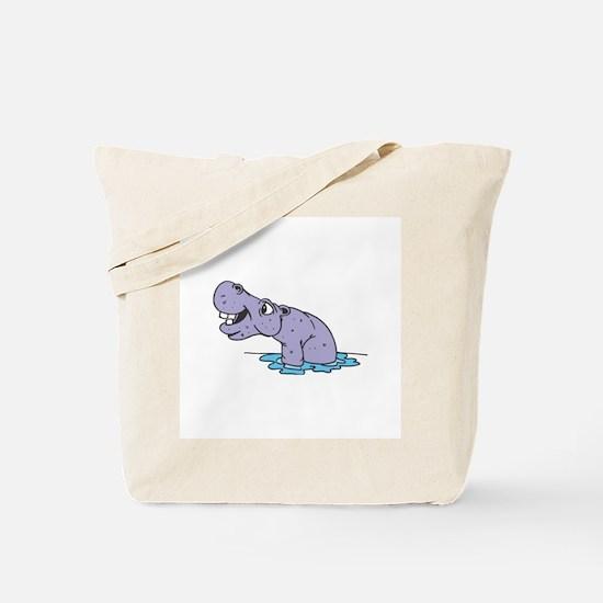 Cute Purple Hippo Tote Bag