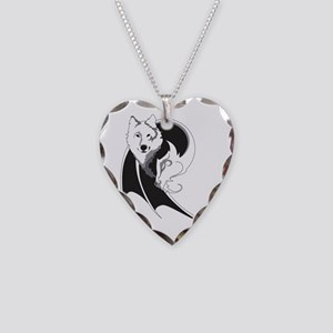 Wolf & Dragon Necklace Heart Charm