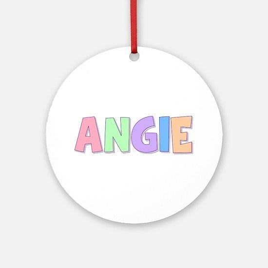 Angie Rainbow Pastel Round Ornament
