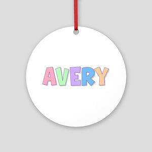 Avery Rainbow Pastel Round Ornament