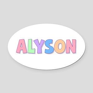 Alyson Rainbow Pastel Oval Car Magnet