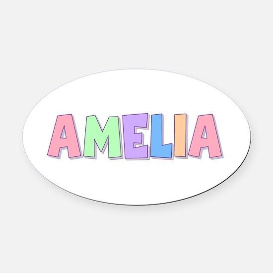 Amelia Rainbow Pastel Oval Car Magnet