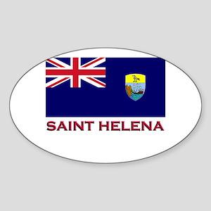 Saint Helena Flag Gear Oval Sticker