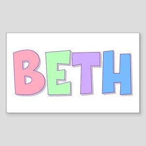 Beth Rainbow Pastel Rectangle Sticker