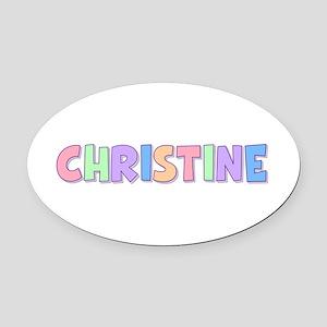 Christine Rainbow Pastel Oval Car Magnet