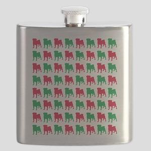 Pug Christmas or Holiday Silhouettes Flask