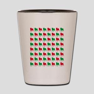 Pug Christmas or Holiday Silhouettes Shot Glass