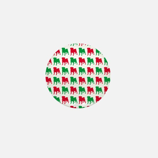 Pug Christmas or Holiday Silhouettes Mini Button
