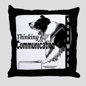 Nose work search border collie Throw Pillow