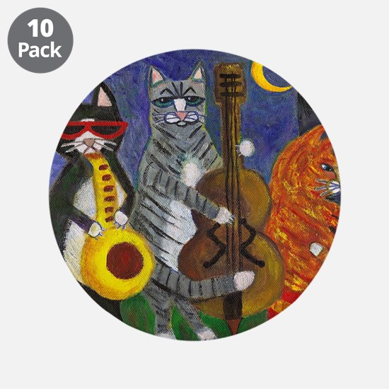 """Jazz Cats at Night 3.5"""" Button (10 pack)"""