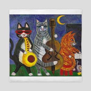 Jazz Cats at Night Queen Duvet