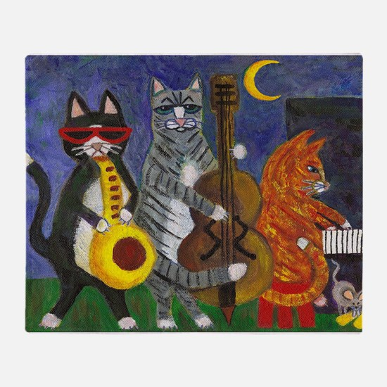 Jazz Cats at Night Throw Blanket