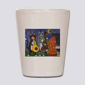 Jazz Cats at Night Shot Glass