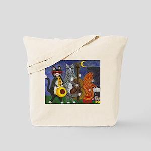 Jazz Cats at Night Tote Bag