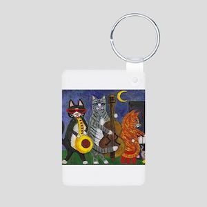 Jazz Cats at Night Aluminum Photo Keychain