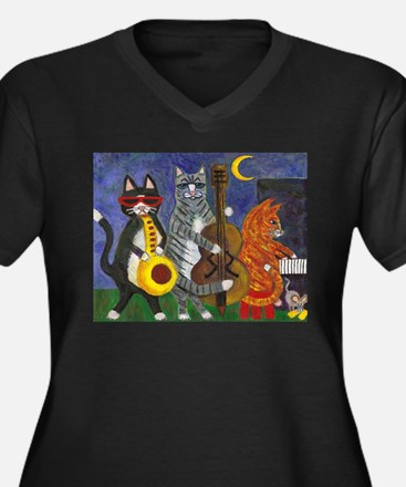 Jazz Cats at Night Women's Plus Size V-Neck Dark T