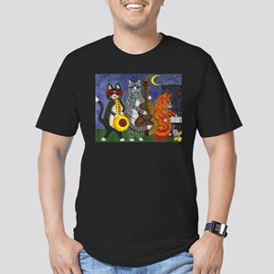 Jazz Cats at Night Men's Fitted T-Shirt (dark)
