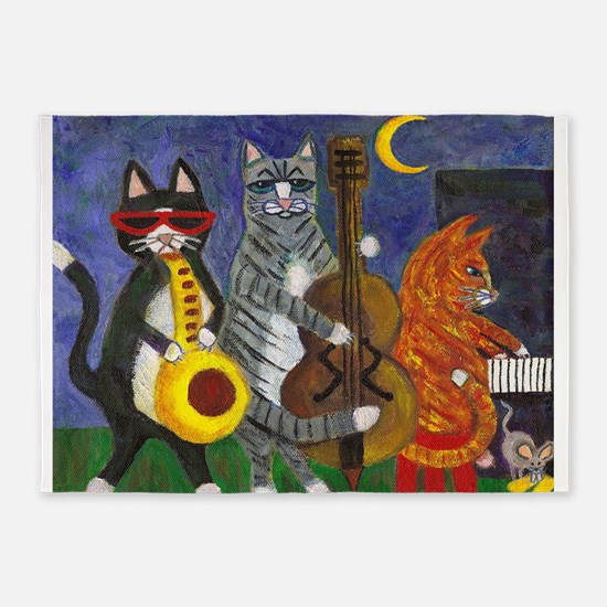 Jazz Cats at Night 5'x7'Area Rug