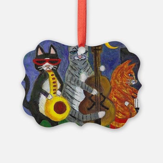 Jazz Cats at Night Ornament