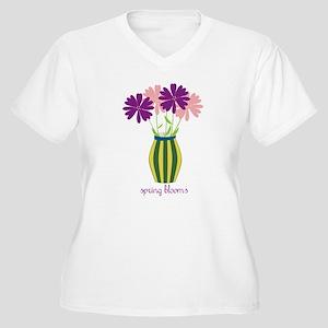 Spring Blooms Women's Plus Size V-Neck T-Shirt