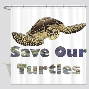 save-our-turtles Shower Curtain