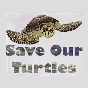 save-our-turtles Throw Blanket