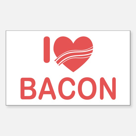 I Heart Bacon Sticker (Rectangle)