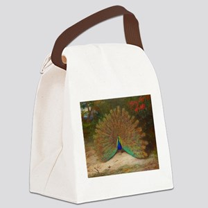 .Vintage Art of a Peacock Canvas Lunch Bag