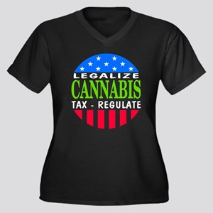 Legalize Cannabis Women's Plus Size V-Neck Dark T-