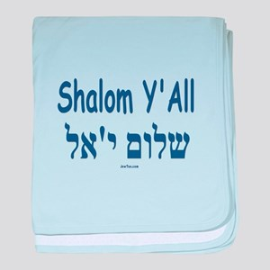 Shalom Y'all Hebrew English baby blanket