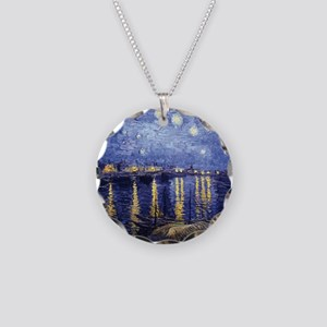Starry Night Over the Rhone Necklace Circle Charm