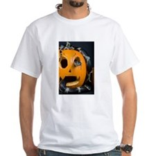 Black Snake in Pumpkin White T-Shirt