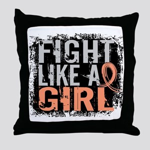 Licensed Fight Like a Girl 31.8 Uteri Throw Pillow